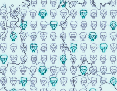 Схематично обозначенные мальчики с миодистрофией Дюшенна на карте России